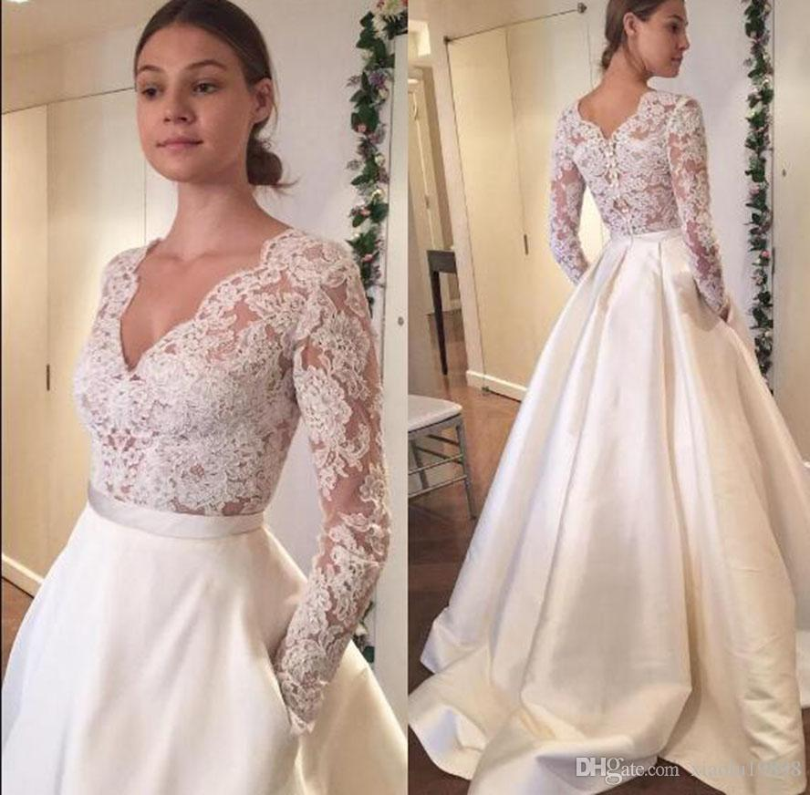 2019 New V Neck White Ivory Long Sleeves Wedding Wraps Jackets Bolero Shawl Lace Appliques Tops Custom Size Bridal Jacket