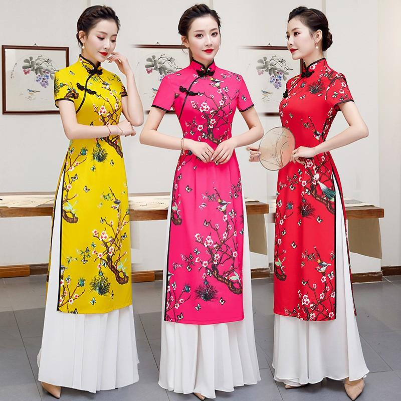 Plus Size 4XL 5XL imprimé floral femmes Aodai qipao Vintage long Chenongsam élégant collier robe chinoise Mandarin Daily Robes