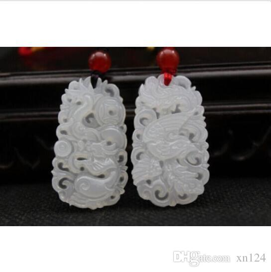 natural hand-carved Chinese white nephrite jade pendant dragon Phoenix necklace