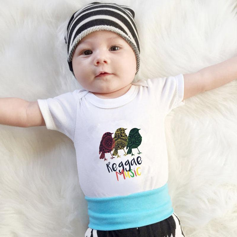 DERMSPE bébé nouveau-né Garçons Filles Lettre coton à manches courtes Reggae, Musique, Mignon Oiseau Photo Romper Jumpsuit Vêtements de bébé blanc
