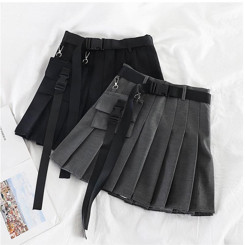 Moda Yüksek Bel Harajuku Kadınlar Etekler Safari Siyah Kırmızı Kısa Etek Bayan Streetwear İşleme yarım boy pilili etek