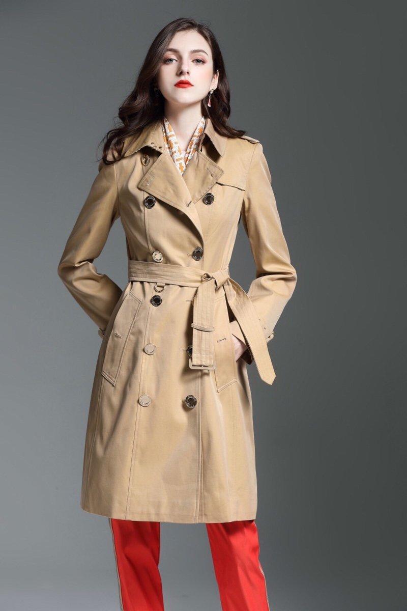 المرأة خندق معطف طويل الكلاسيكية سترة واقية للماء البريطانية الجديدة الراقية الطراز الإنجليزي خريف شتاء Gabadian بلون C267CC عادية