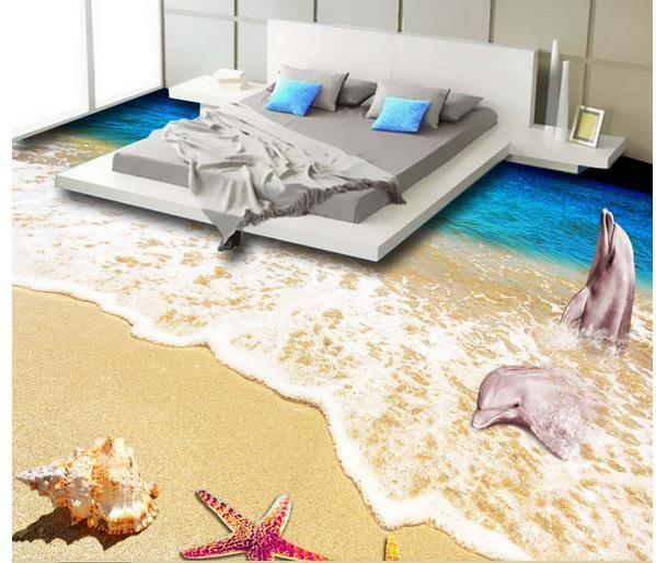 Dolphin Bay Beach Seascape 3D Flooring waterproof wallpaper for bathroom wall
