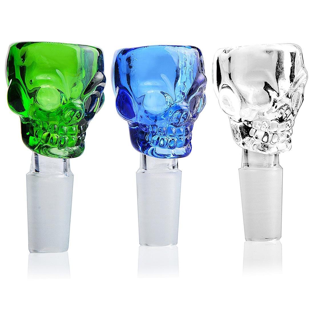 Verre Bols Super Size Skull verre Bong Bowl pour bongs fumeurs en verre très lourd Fabricant mâle bol 14mm