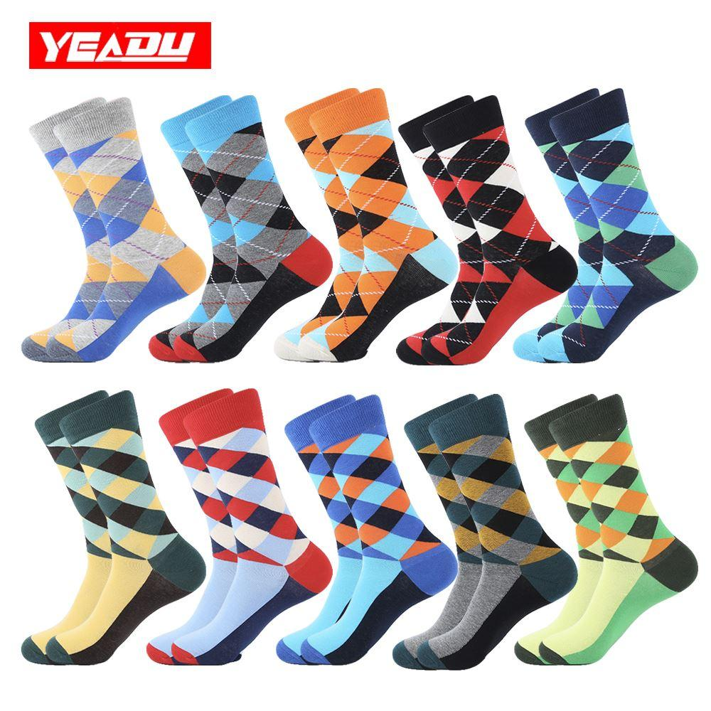 YEADU 10 Pairs/Lot Men's Socks Colorful Cotton Funny Harajuku Cool Hiphop Casual Happy Dress Wedding Compression Socks for Men