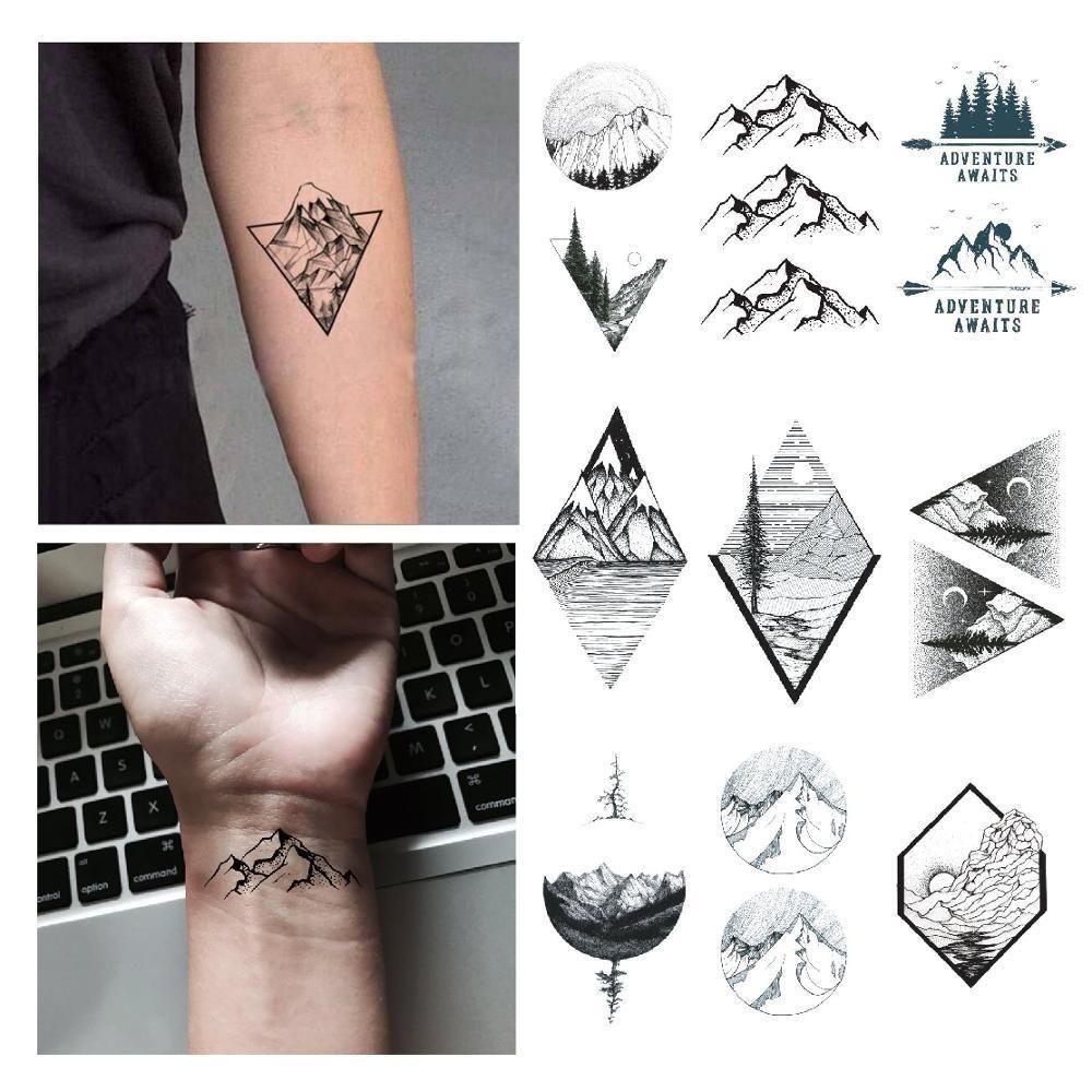 Berg Tattoo Aufkleber Wasserdicht Temporäre Gefälschte Tattoo Aufkleber Berg Design Body Art Bilden Werkzeuge Für Mädchen Frauen SH190729