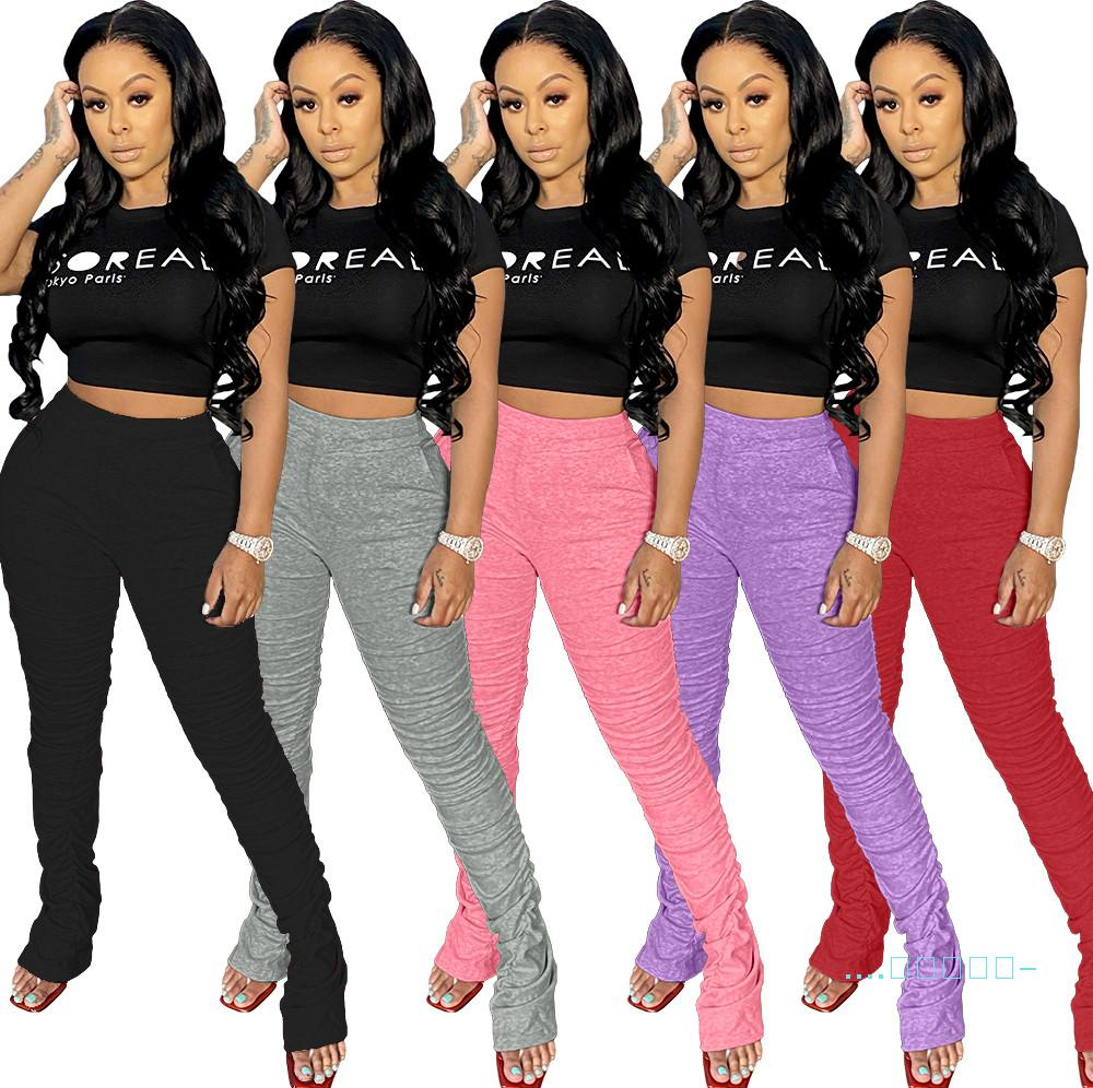 Women Solid Color Pants Fashion Ladies Outfits Casual Mid-waisted Pleats Pants Spring Female Elastic Waist Pant Clothes D41005