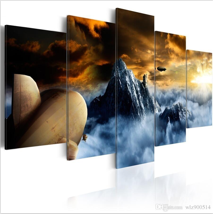 ( No Frame)5PCS/Set Modern Abstract Above the Clouds Art Print Frameless Canvas Painting Wall Picture Home Decoration