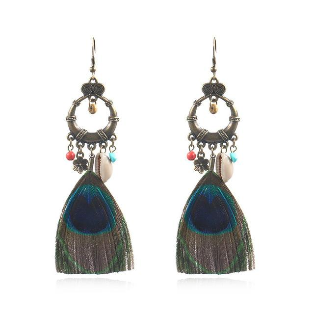 Fashion Ethnic Earrings Creative Peacock Feather Earrings Shell Accessories Bohemian Popular Jewelry Wholesale