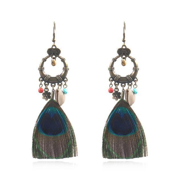 Moda Etnik Küpeler Yaratıcı Peacock Feather Küpe Shell Aksesuar Bohemian Popüler Takı Toptan