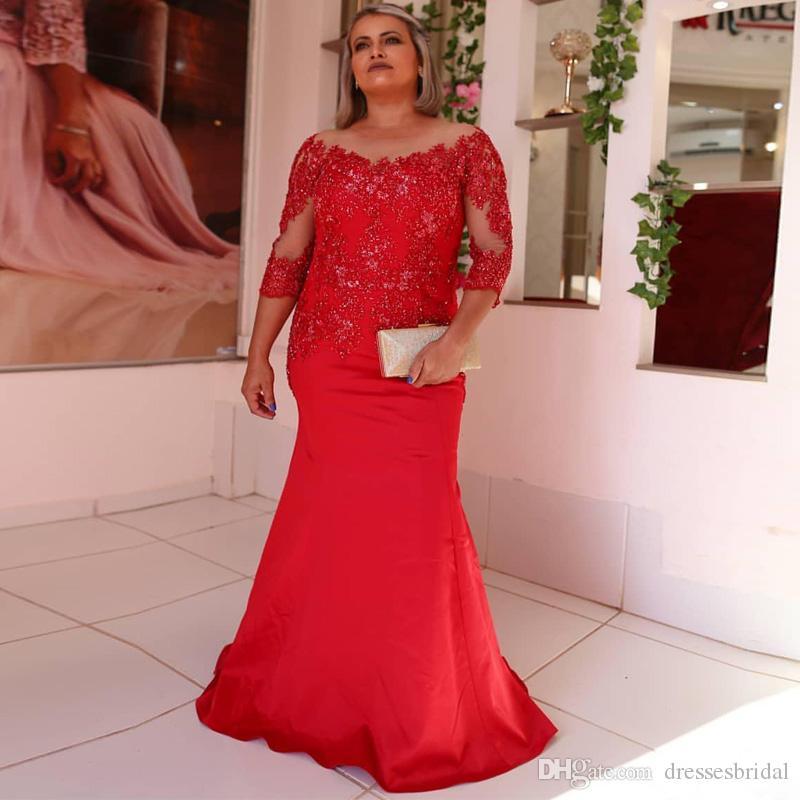 Élégante sirène rouge mère de la mariée robes robes pure cou manches trois quarts perles robe de soirée en satin longue robe de bal