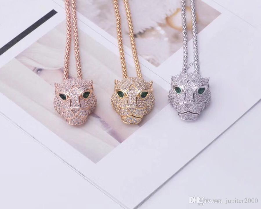 Venda quente Moda Lady Mulheres Latão Ouro 18K Grosso colares longos With Full Olhos Verdes de diamante Zircon Leopard pingente de cabeça