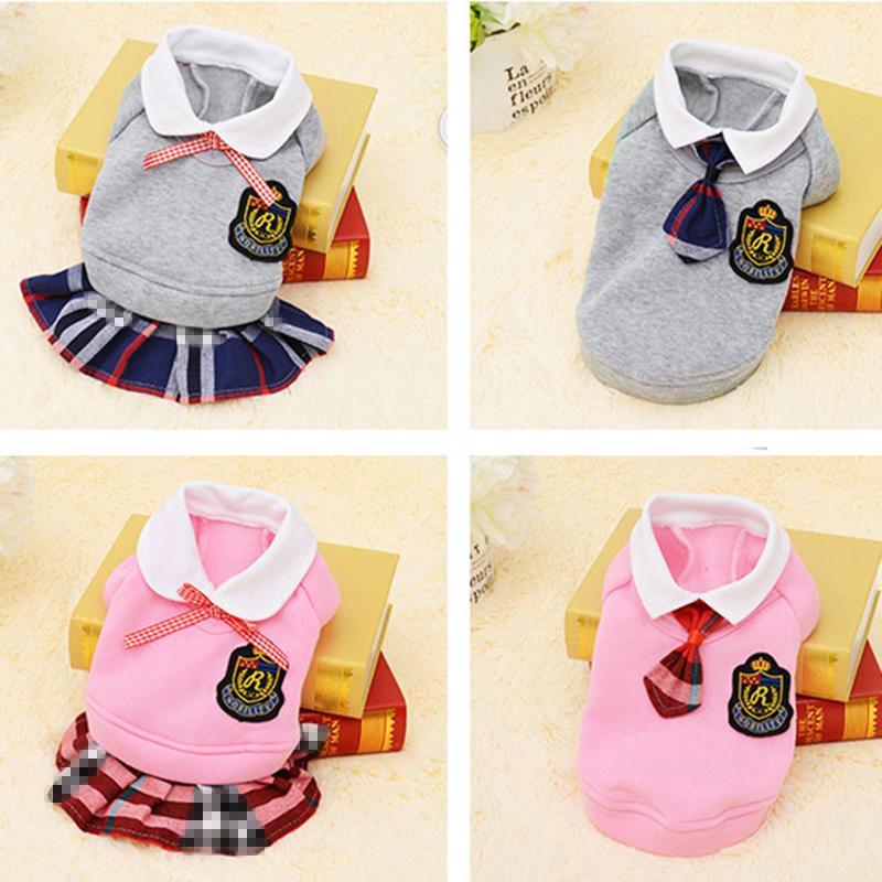 Estilo da escola roupas para cães de estimação gato roupas vestido pugs filhote de cachorro casaco roupa para roupas de cachorro pequeno