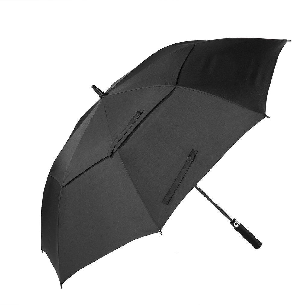 Paraguas extra grande Técnicas de inyección Fibra de vidrio Paraguas de golf Eje de doble techo A prueba de viento Impermeable Automático Abierto