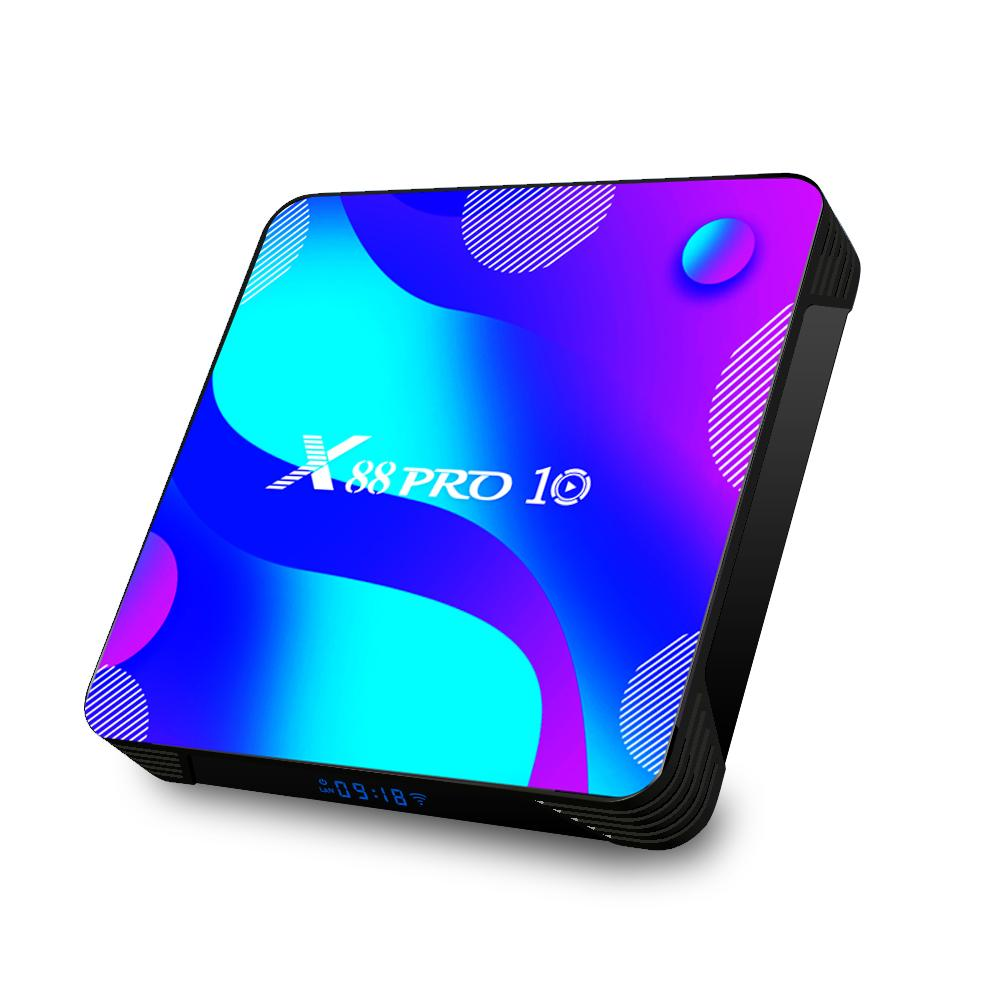 Latest X88 PRO 10 android 10.0 TV BOX RK3318 Quad-core 2GB/16GB built-in 2.4G/5G WIFI&Bluetooth smart media player hgs