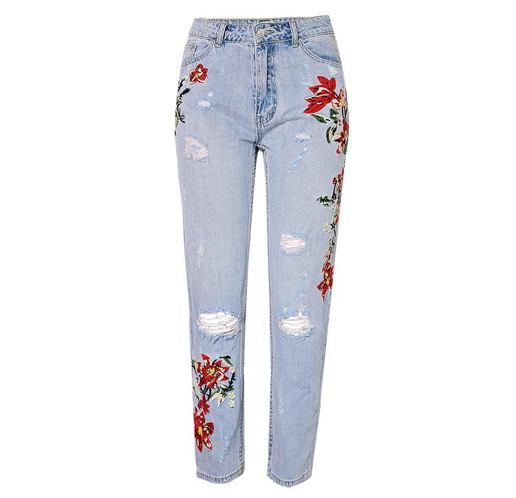 Blumen bestickte Jeans für Frauen plus Größe Hohe Taille zerrissene Jeans Mom Frauen schlank gerade mit Risse Loch Knöchelhose