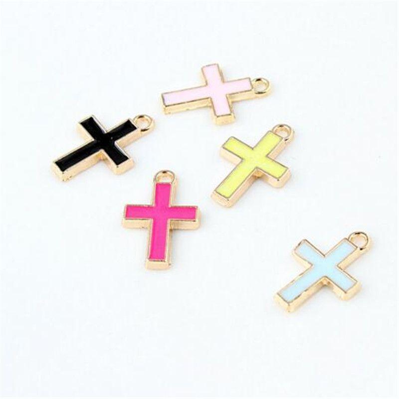 Trovare Perle Croce 11 * 16MM oro piccola croce in lega fascini all'ingrosso monili del pendente orecchini accessori della collana di gioielli fai da te braccialetti misura
