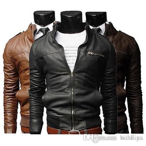 Cool Fashion Stand hommes Collier Slim Motorcycle Faux Manteau en cuir Outwear Veste