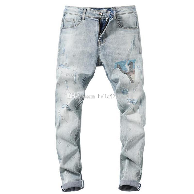 Yepyeni Retro Erkekler Jeans Düz Motosiklet Biker Denim Pantolon Kişilik Desen Klasik Açık Mavi Hip Hop Uzun Pantolon