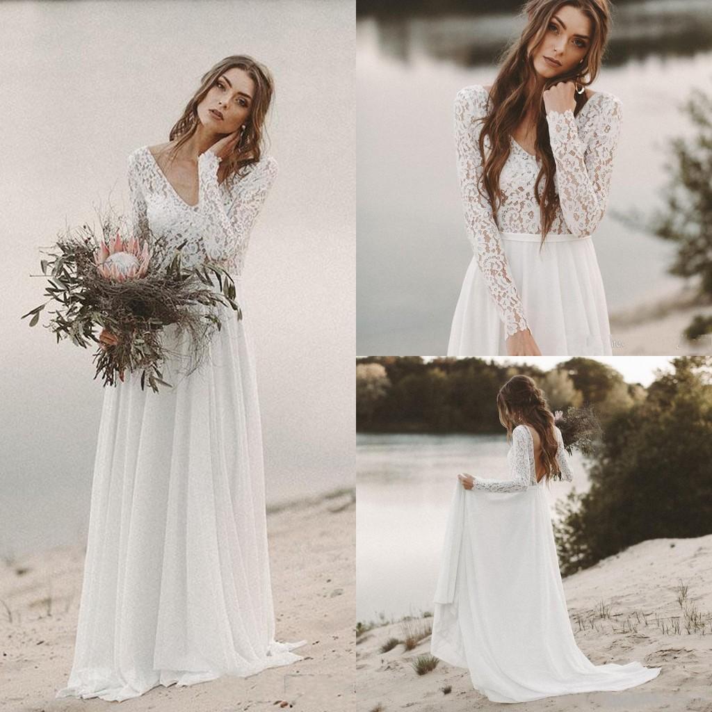 2019 New White//Ivory V neck Chiffon Wedding Dress Beach Bridal Gown Stock Size