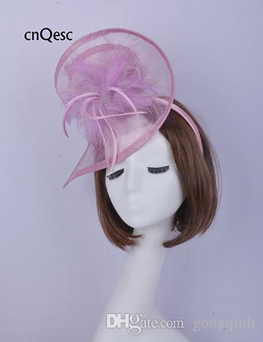 2019 Lilla viola sinamay fascinator Accessorio per capelli Copricapo Kentucky Derby gare di nozze doccia nuziale madre della sposa con piume