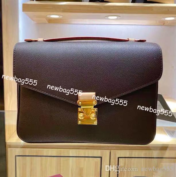Frauenhandtasche aus echtem Leder Pochette Tasche heißer Art und mittlere Größe Reverse Griff Trage m40780 Handtaschen Metis Umhängetasche Schulterbeutel Druck