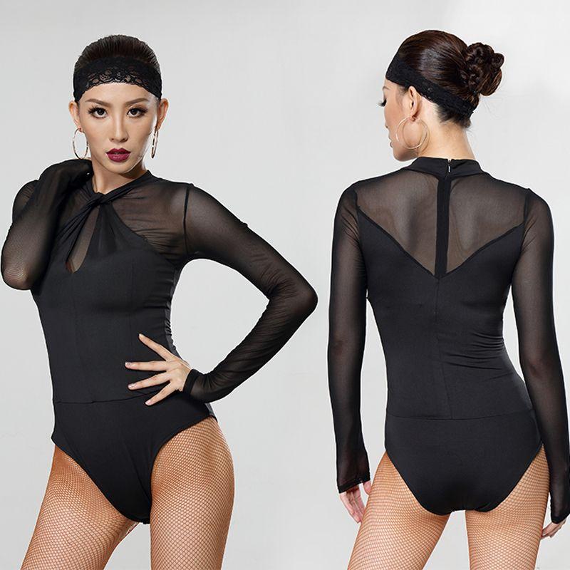 2018 Fantasia originale de danse latine pour les femmes Costume Lady Robe Couleur Noir Beauté latine Costume Tango Danse Bodysuit Y044