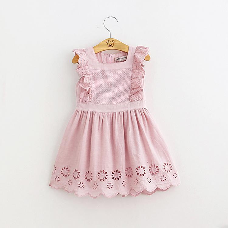 DHL бесплатная доставка девочка дети розовый хлопок кружевное платье летние дети сказочные платья одежда