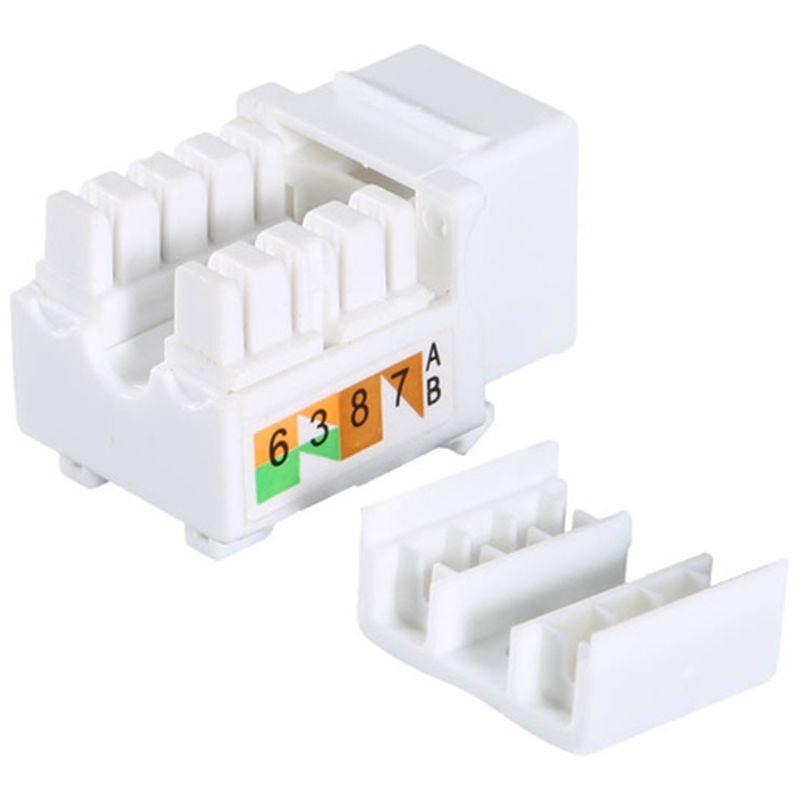 Бесплатная доставка 50 шт. Пластиковый белый универсальный разъем Cat6 RJ45 Штекерная стойка Ethernet-модуль