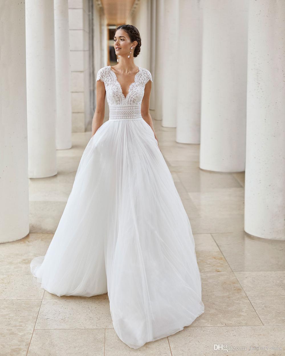 elbiseler mütevazı Dantel V Yaka Cap Kollu A Hattı Gelinlik Kat Süre Tül Gelinlik Modelleri Gelin Kıyafeti vestidos de Noiva