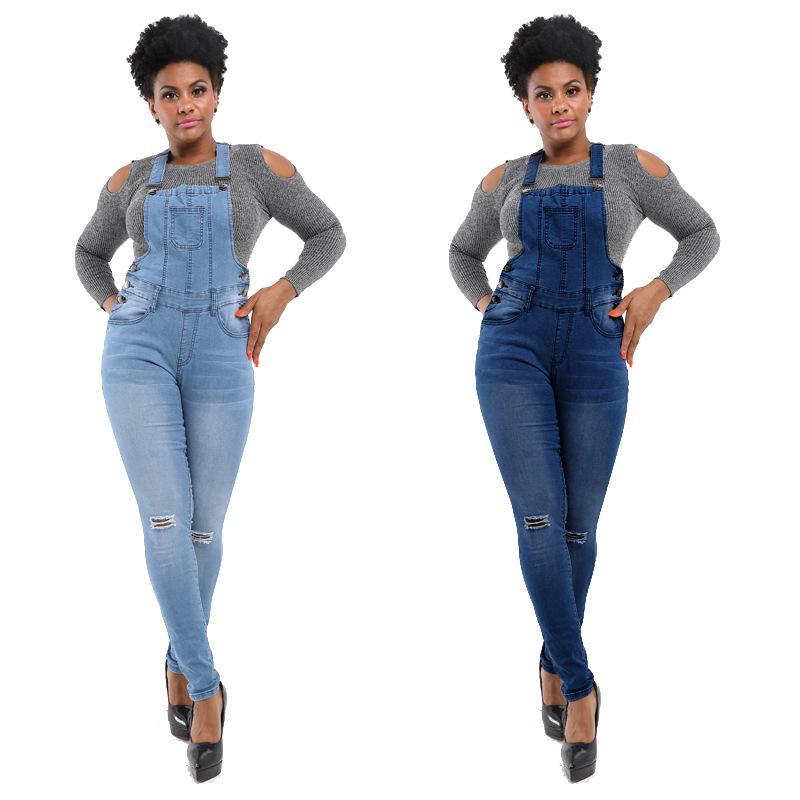 QMGOOD 2020 Fashion Streetwear Donne jeans strappati lunghe pagliaccetti di estate cinghia di spaghetti Tuta da donna denim Sexy Tute