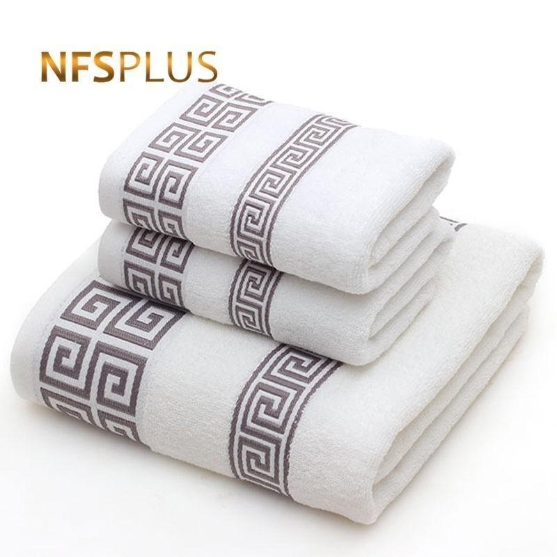 Juego de toallas de algodón para adultos 2 Cara toalla de mano 1 cuarto de baño baño de color azul blanco sólido Terry Toallita Viajes Deportes Toallas