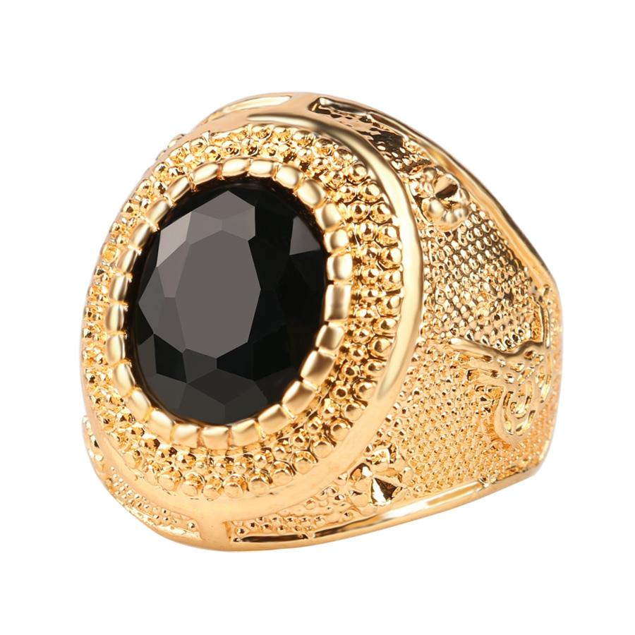 Gold Color Man Rings Vintage Jewelry Black Red Ancient Word Engraving Resin Tibet Alloy Wedding Rings For Men