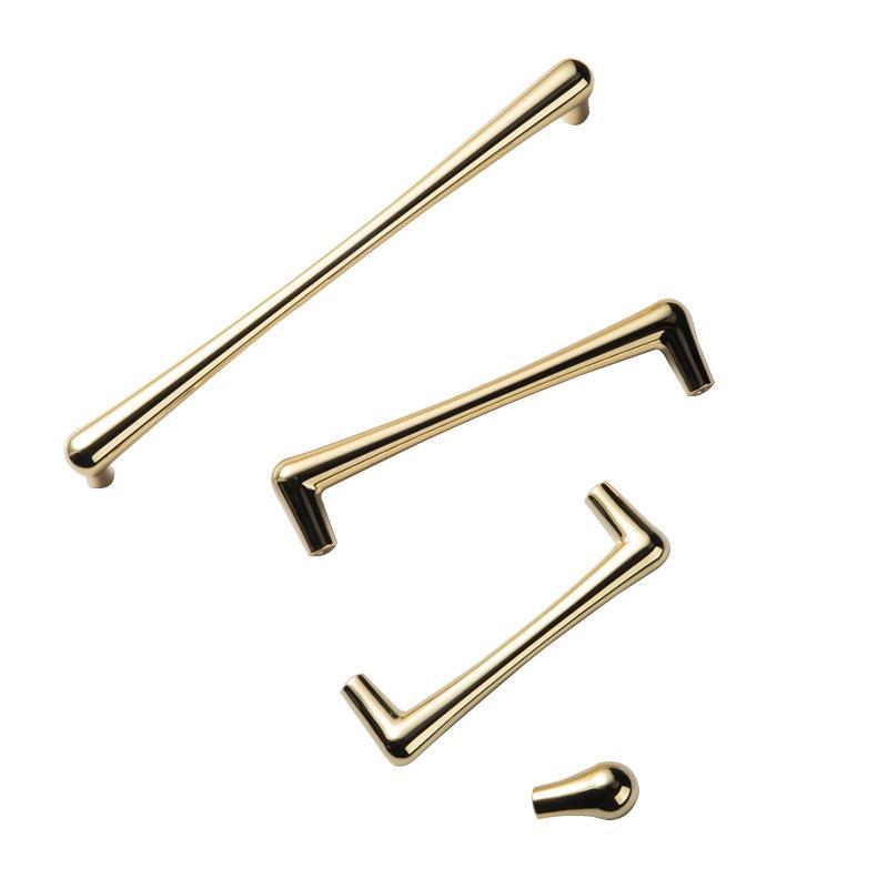 Cajones y tiradores de muebles de aleación de zinc y oro, baño pulido, gabinete de cocina, armario, aparador, manija, diseño moderno, precio al por mayor