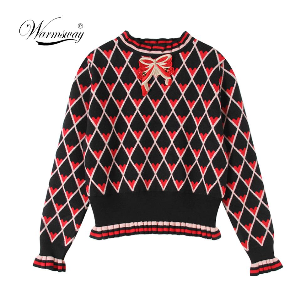 Warmsway Pull Femme 2019 New Winter Turtleneck High Waist Bow Bordado Jersey de punto Mujeres Argyle Heart Pattern Top C-304 Y190823