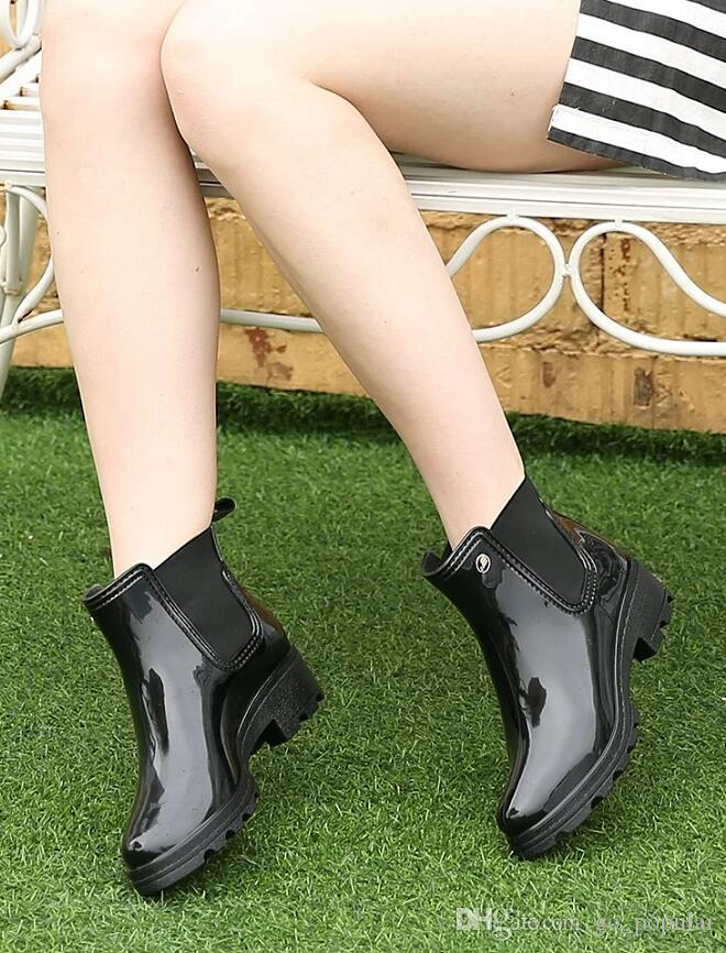 Yeni moda orta yüksek yağmur ayakkabı kadın bahar, yaz, sonbahar ve kış yağmur çizmeleri antiskid su ayakkabı peluş hfvfbh ile eklenebilir