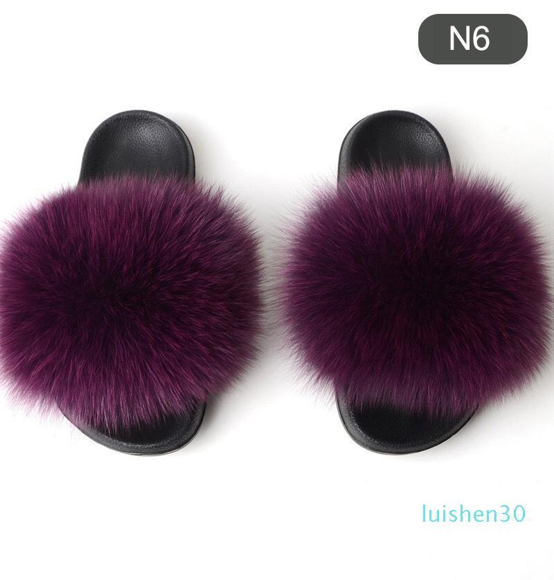 Лето Женщина Тапочки Действительно Fur Fox волосы Слайды плоских Плюшевая обуви Главных Вьетнамки женской пляжные сандалии AL30