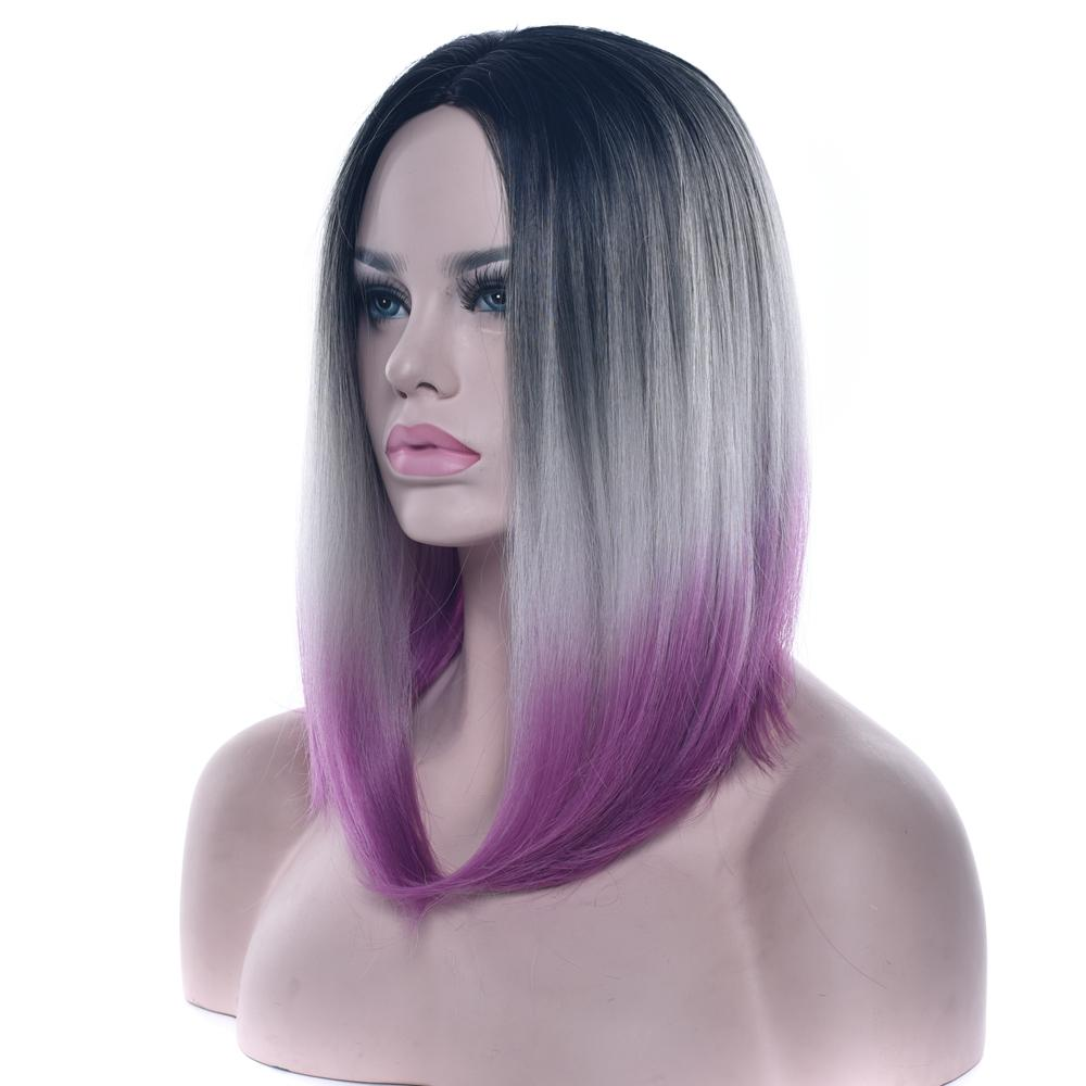 Soowee Hair Short Bob Wigs 12 Colors Synthetic Hair Black To Gray Purple Ombre For Women Straight Headwear Cosplay Wig