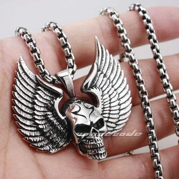 Yüksek USpecial Katı 925 Gümüş Kafatası Kanat Erkek Biker Rocker Punk kolye 8C012 Pop