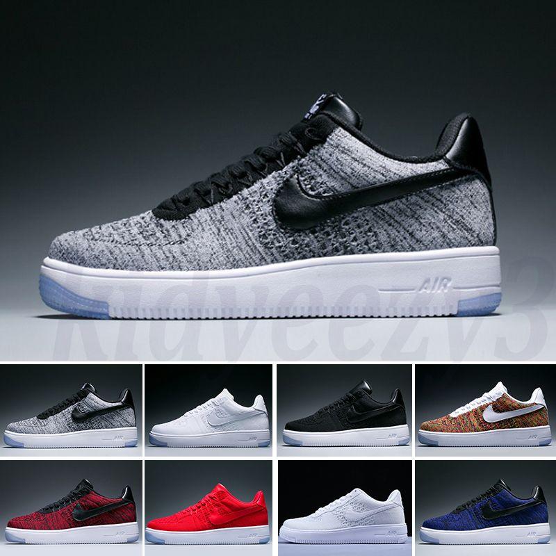 Nike Air Force 1 AF1 Flyknit 2019 Homens Mulheres Low cortar um 1 sapatos brancos preto Dunk Skateboarding Sapatos clássicos Trainers voar alto ar A55 Sneakers unisex curta sapato