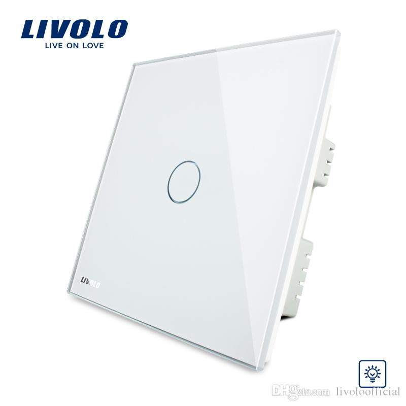 Livolo, Touch Switch, UK Standard, AC 220-250V , White Crystal Glass Panel, Wall Light Touch Screen Dimmer Switch