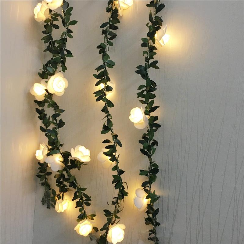 6M 3M Artificial Rose Flower Ivy Vine Wedding Decor Real Touch Silk Flowers String Lighting For Home Garland Wedding Party Decor