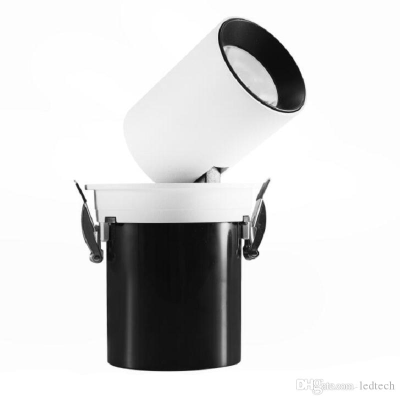 rond carré blanc Shell 30W Dimmable Cob LED Downlight Froid / Chaud torchis blanc Led plafond bas de la lumière d'économie d'énergie lampe Led