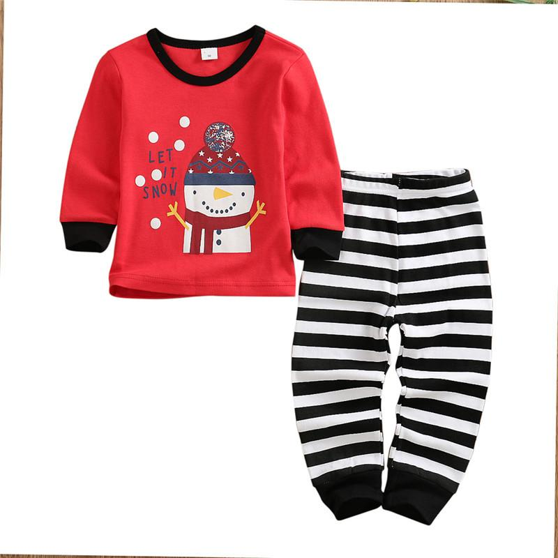 5T Kids Toddler Clothes Christmas Outfits Baby Girls Boy Tops+Striped Pants Suits