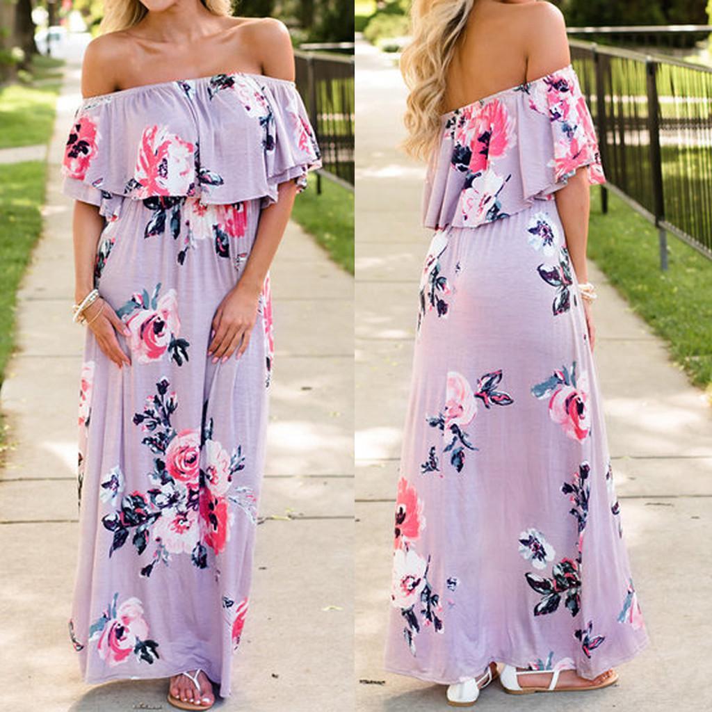 Kadın maxi dressFashion Off-omuz Çiçek çiçek dressPagoda Orta Kol Kat-Uzunluk Elbise elbise Bağbozumunu yazdır