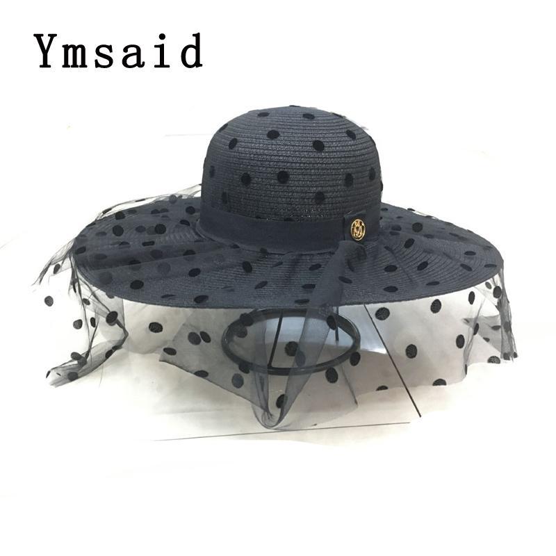 الصيف أنيقة دوت شبكة قبعة من القش المرأة على نطاق واسع بريم وقاية من الشمس شاطئ هات 2020 جديد مرن طوي أحد أغطية للرأس للمرأة السيدات