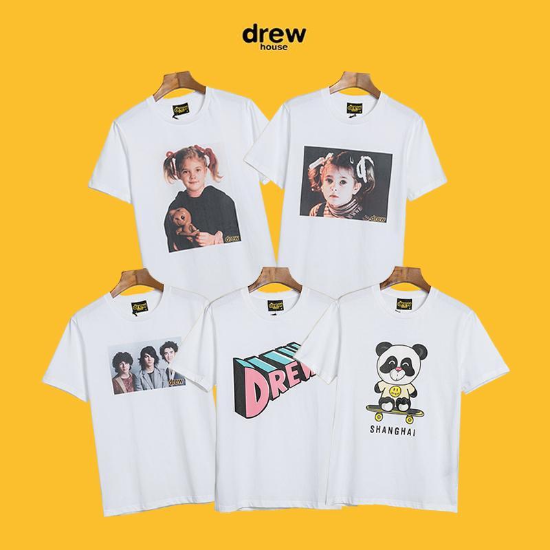 Fashion Outfits Hip-Hop-Straße Teenager drewhouse streatwear T-Shirts Männer Frauen zogen Häuser Kurzhülse Paar aus 100% Baumwolle atmungsaktiv loser