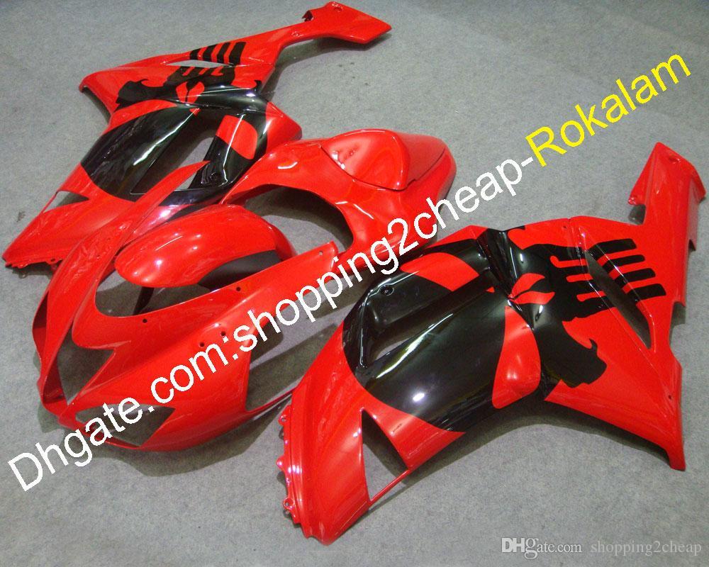 07 08 636 ZX 6R ZX636 Kit de cares personalizados para KAWASAKI ZX-6R 2007 2008 ZX6R Red Carne FIT (Moldeo por inyección)
