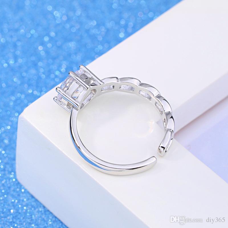 Anel de Casamento por atacado feminino feminino assimétrico abertura do anel versão coreana da moda temperamento jóias de prata (abertura ajustável)