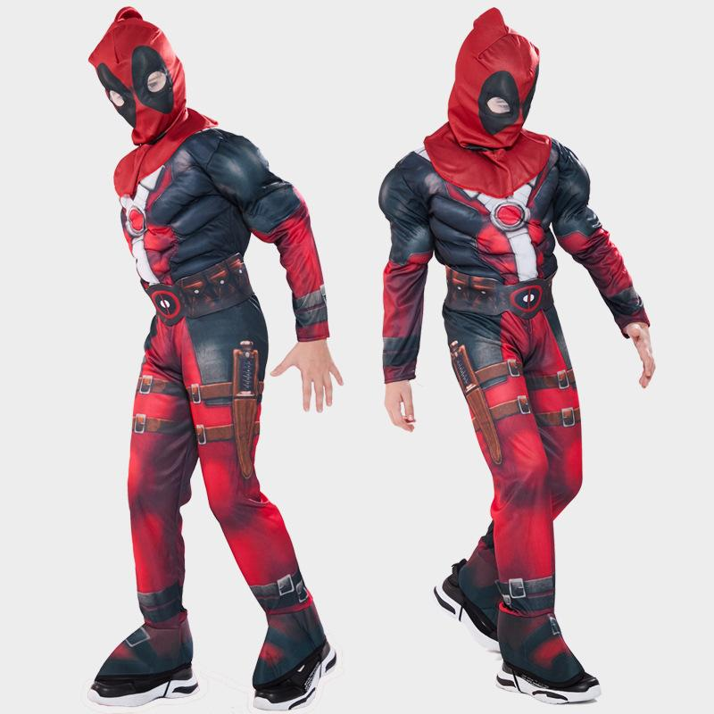 Free shipping Deadpool 2 Cosplay Costume For Boys Halloween Cosplay Party Children's Clothing Kids Carnival Performing Muscle stage outfits